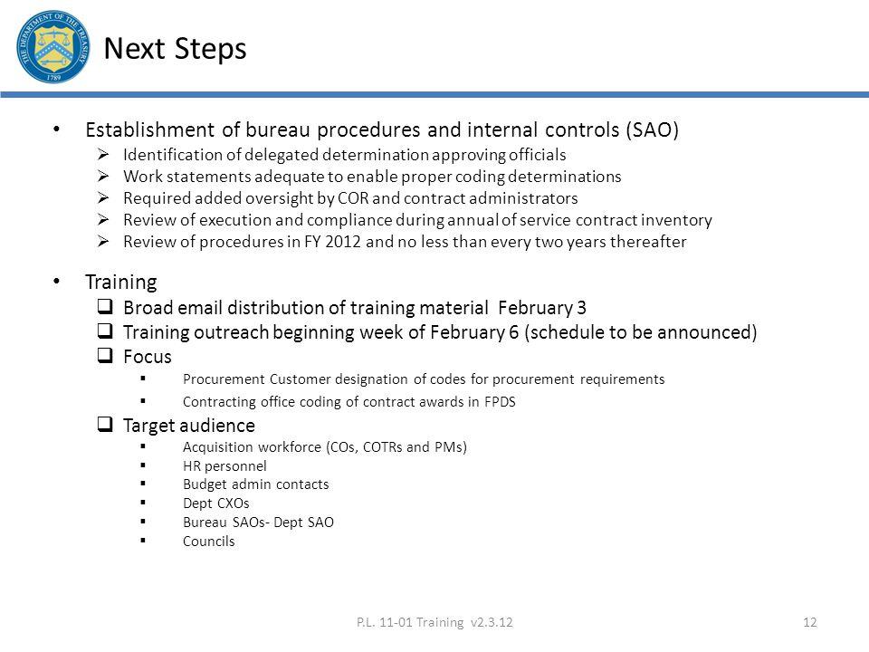 Next Steps Establishment of bureau procedures and internal controls (SAO) Identification of delegated determination approving officials.