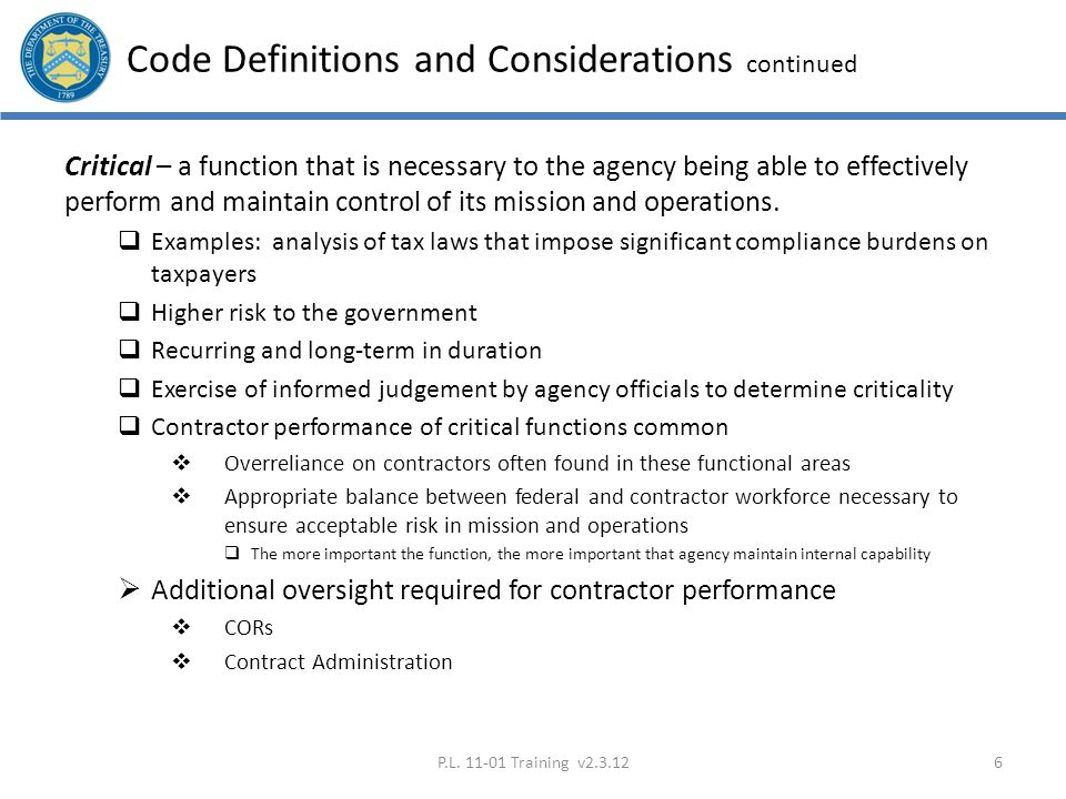 Code Definitions and Considerations continued