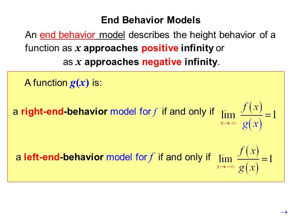 End Behavior ModelsAn end behavior model describes the height behavior of a function as x approaches positive infinity or.