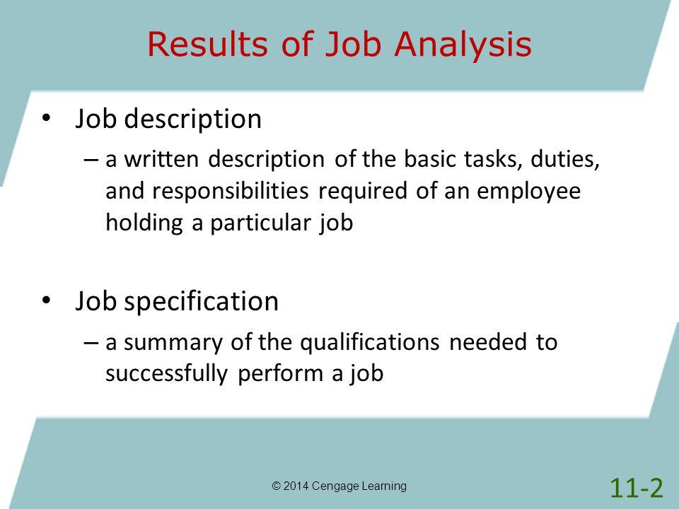 Results of Job Analysis