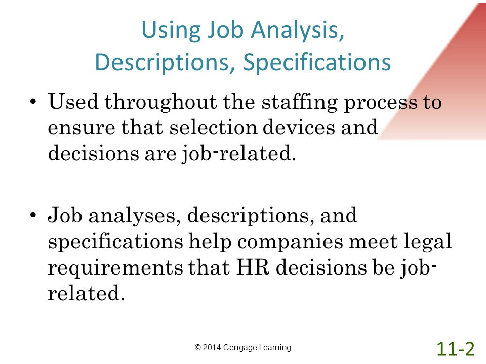Using Job Analysis, Descriptions, Specifications