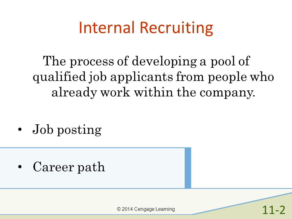 Internal Recruiting The process of developing a pool of qualified job applicants from people who already work within the company.