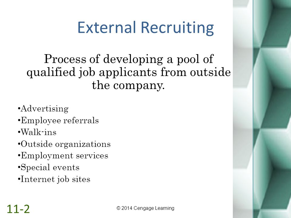 External Recruiting Process of developing a pool of qualified job applicants from outside the company.