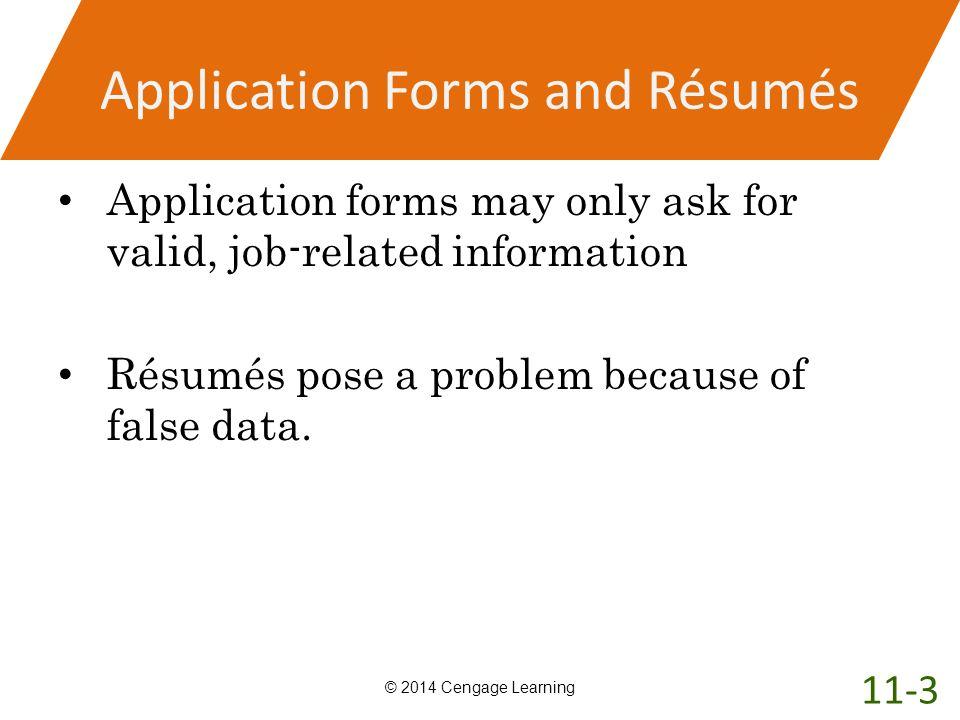 Application Forms and Résumés