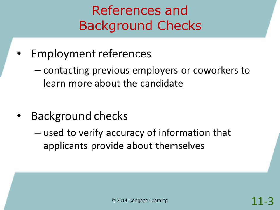 References and Background Checks