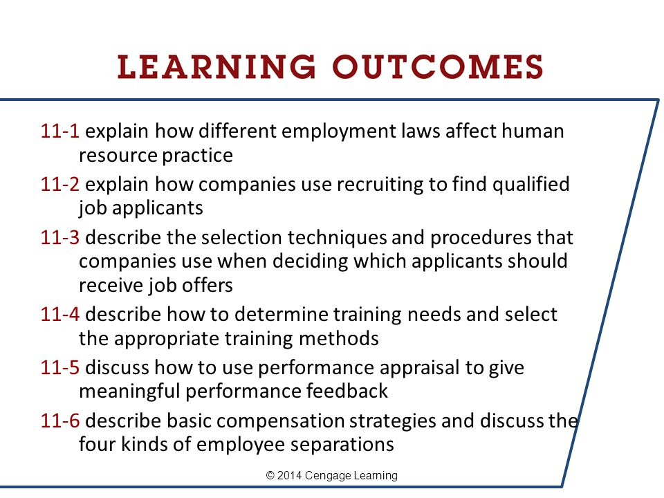 11-1 explain how different employment laws affect human resource practice