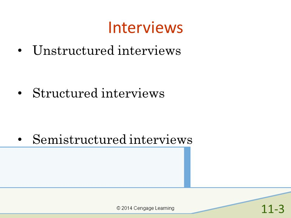Interviews Unstructured interviews Structured interviews
