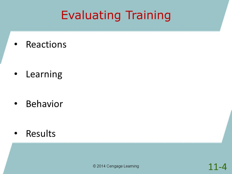 Evaluating Training Reactions Learning Behavior Results 11-4