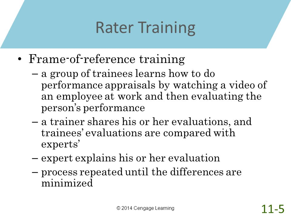Rater Training 11-5 Frame-of-reference training