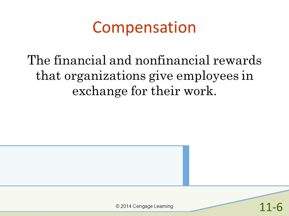 Compensation The financial and nonfinancial rewards that organizations give employees in exchange for their work.