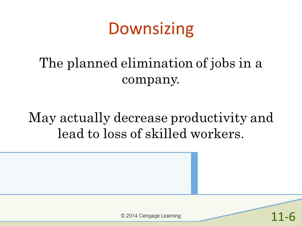 Downsizing The planned elimination of jobs in a company. May actually decrease productivity and lead to loss of skilled workers.