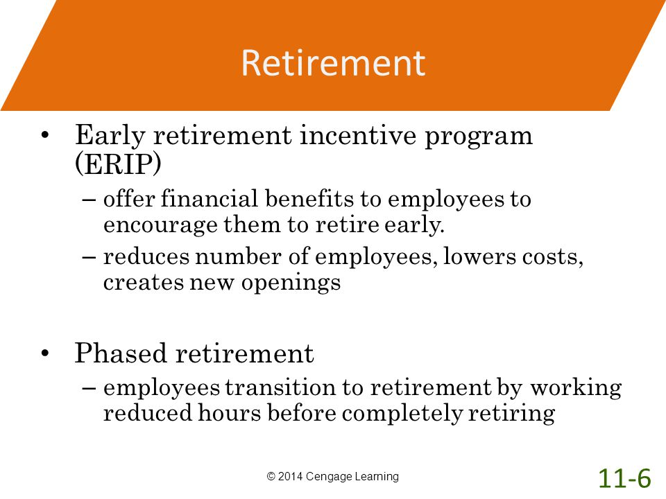 Retirement 11-6 Early retirement incentive program (ERIP)