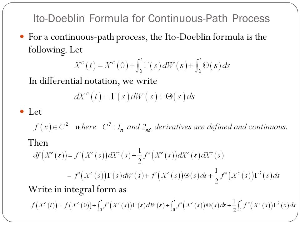 Ito-Doeblin Formula for Continuous-Path Process