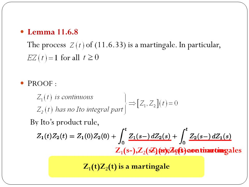 Z1(t)Z2(t) is a martingale