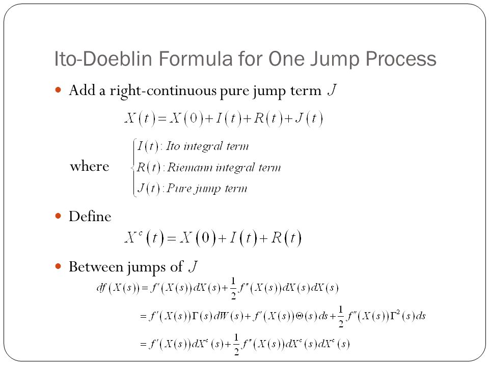 Ito-Doeblin Formula for One Jump Process