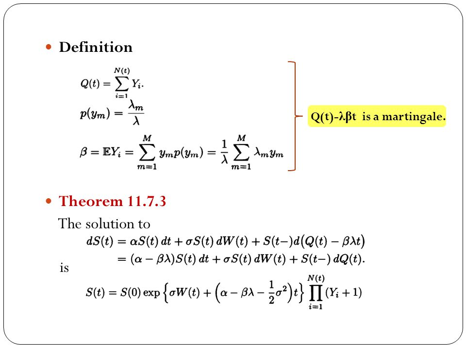 Definition Theorem 11.7.3 The solution to is Q(t)-λβt is a martingale.