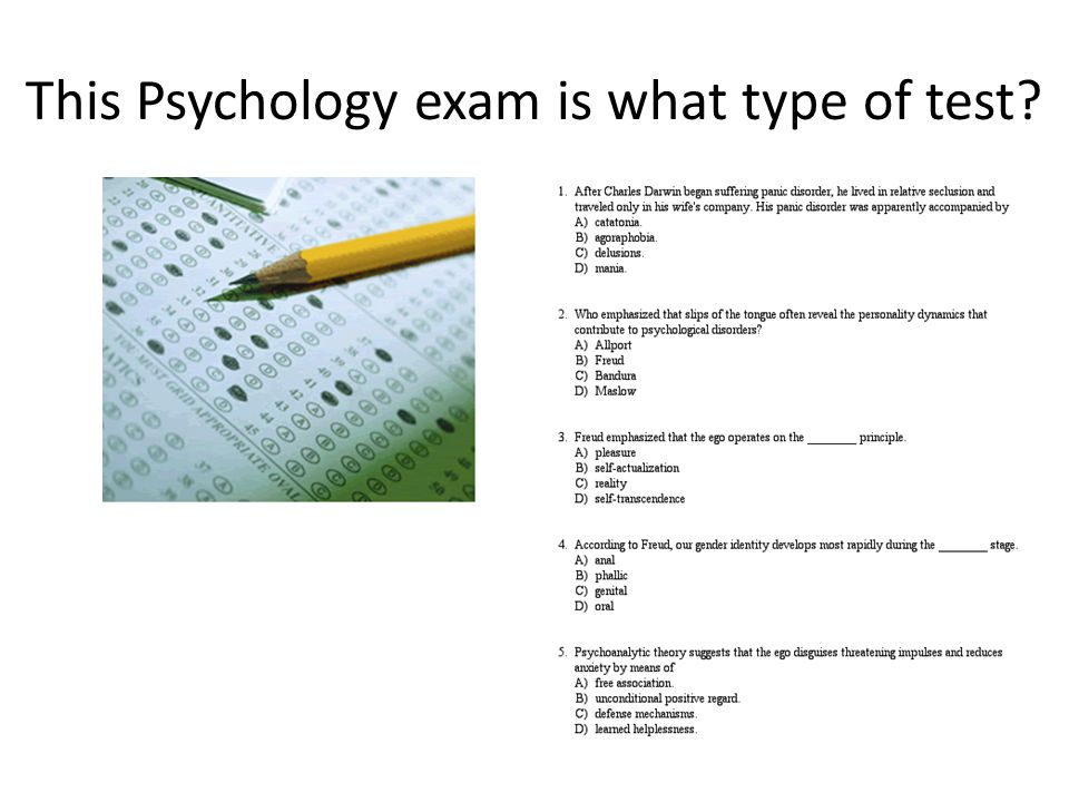 This Psychology exam is what type of test