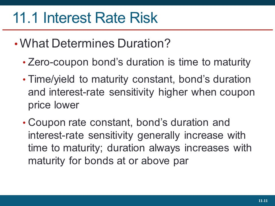 11.1 Interest Rate Risk What Determines Duration