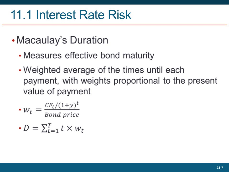 11.1 Interest Rate Risk