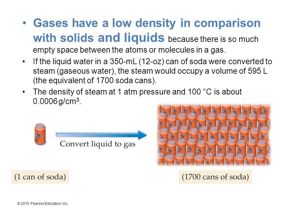 Gases have a low density in comparison with solids and liquids because there is so much empty space between the atoms or molecules in a gas.