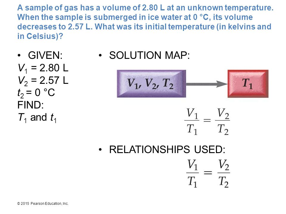 GIVEN: V1 = 2.80 L V2 = 2.57 L t2 = 0 °C FIND: T1 and t1 SOLUTION MAP: