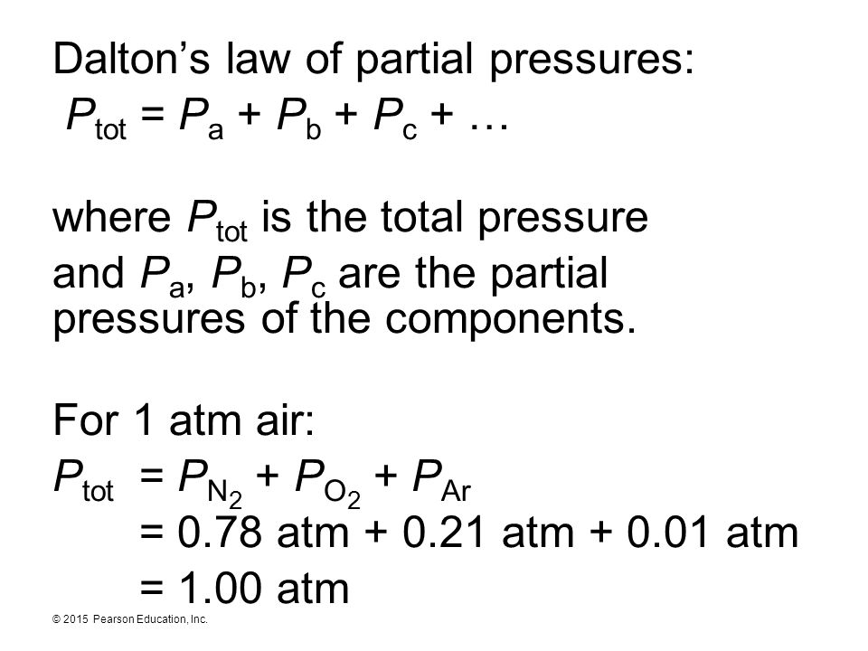 Dalton's law of partial pressures: Ptot = Pa + Pb + Pc + … where Ptot is the total pressure and Pa, Pb, Pc are the partial pressures of the components.