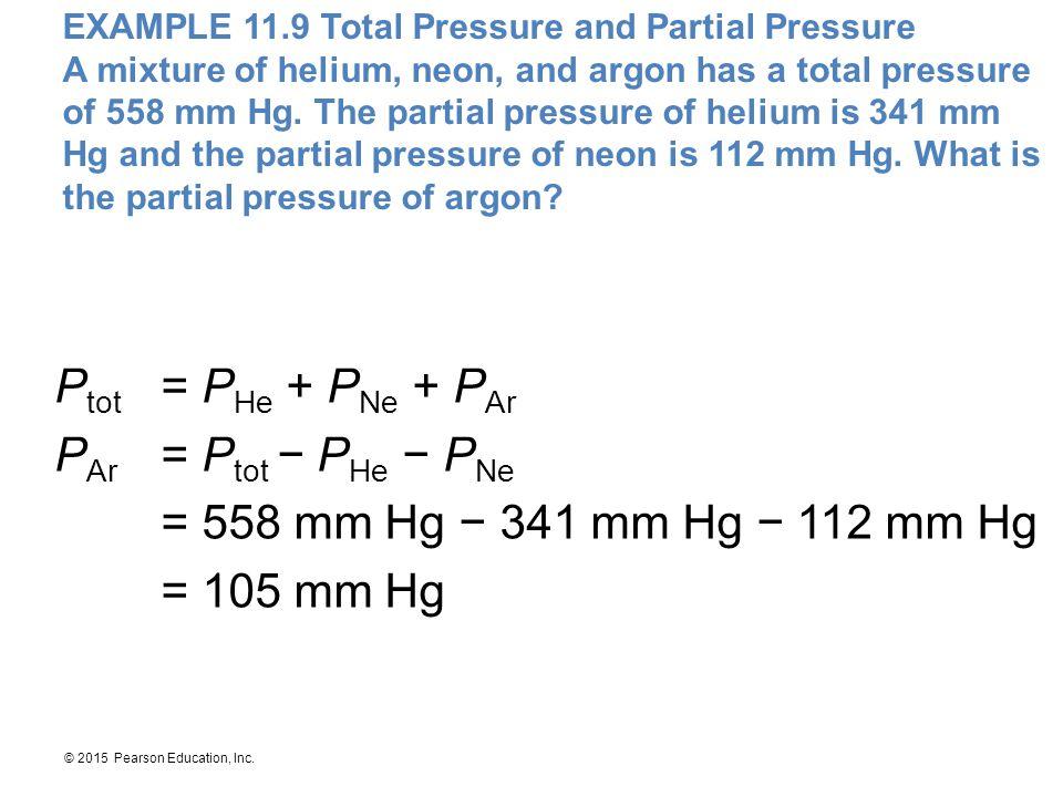Ptot = PHe + PNe + PAr PAr = Ptot − PHe − PNe