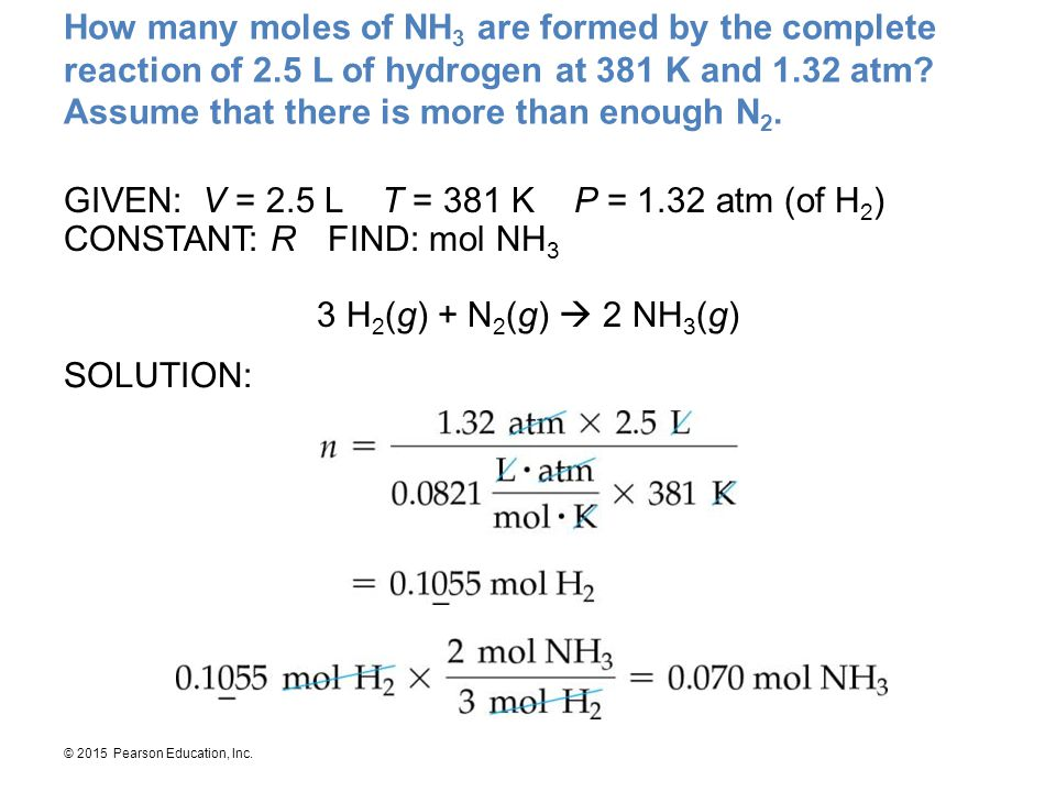 How many moles of NH3 are formed by the complete reaction of 2