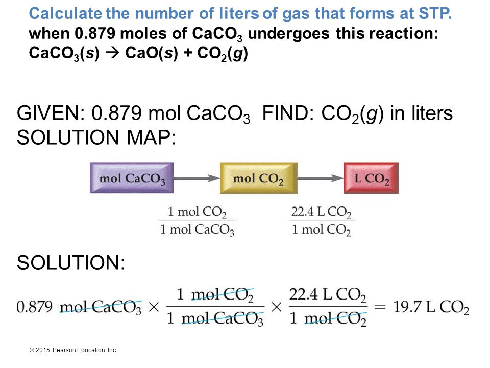 GIVEN: 0.879 mol CaCO3 FIND: CO2(g) in liters SOLUTION MAP: