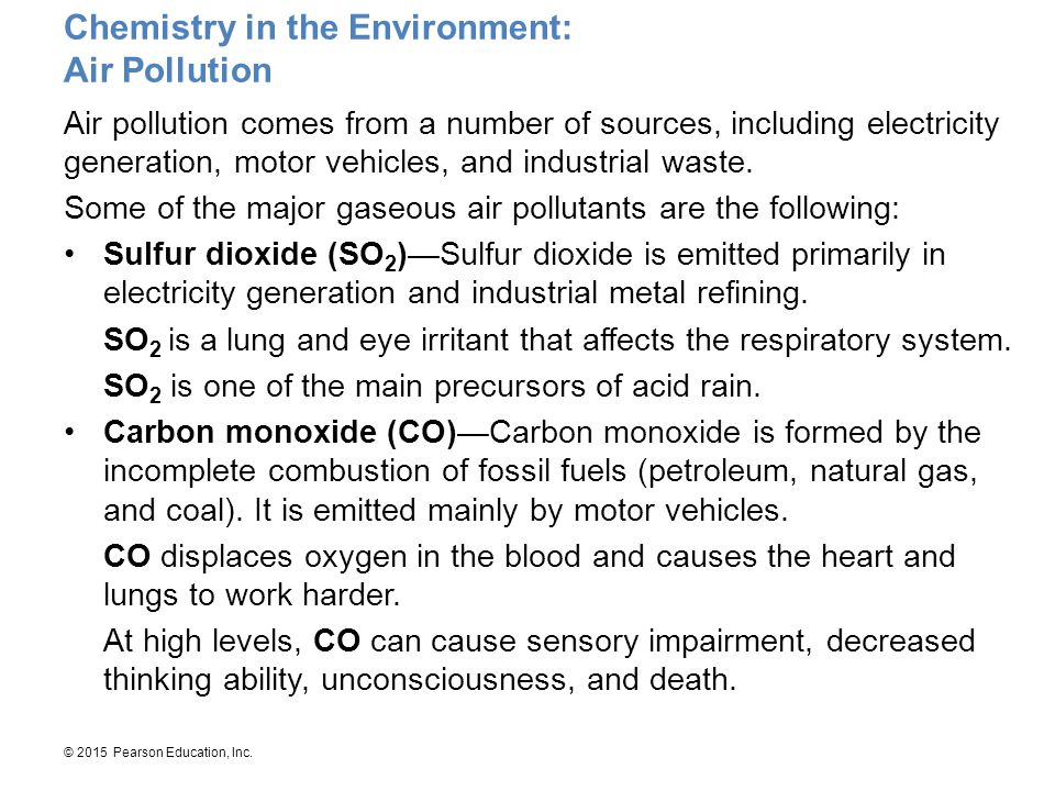 Chemistry in the Environment: Air Pollution