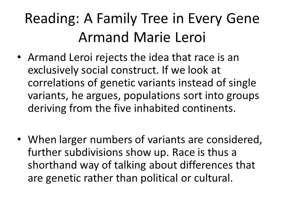 Reading: A Family Tree in Every Gene Armand Marie Leroi