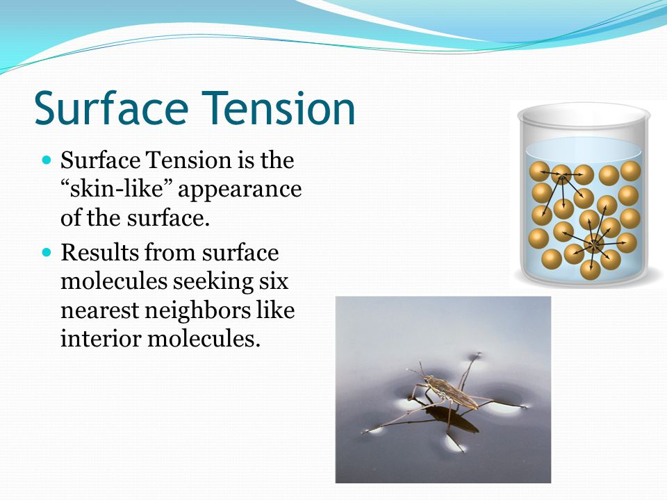 Surface Tension Surface Tension is the skin-like appearance of the surface.