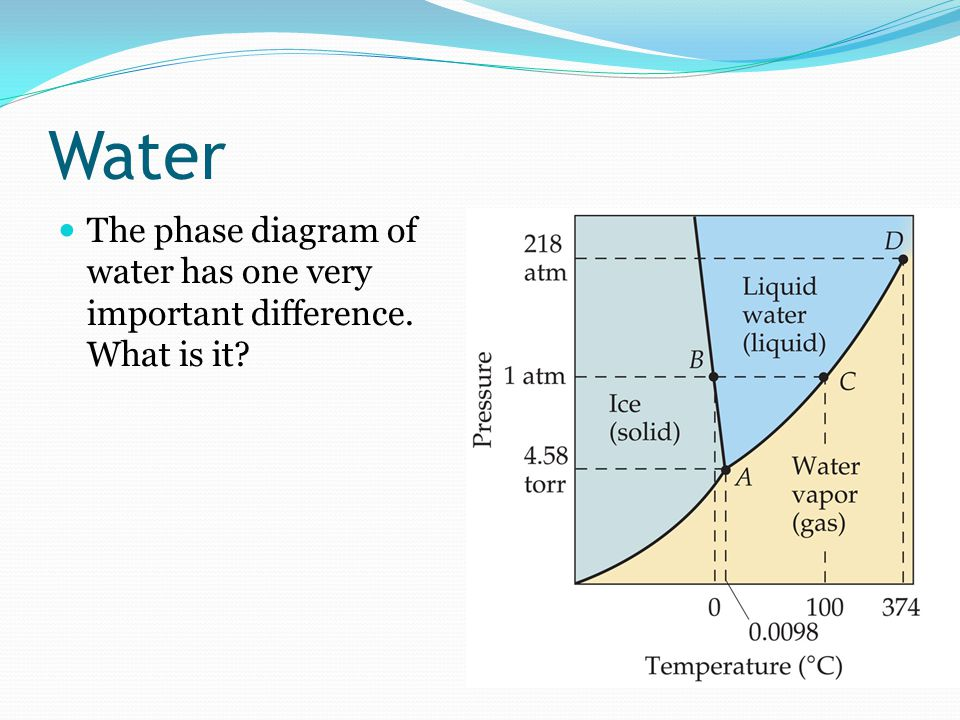 Water The phase diagram of water has one very important difference. What is it