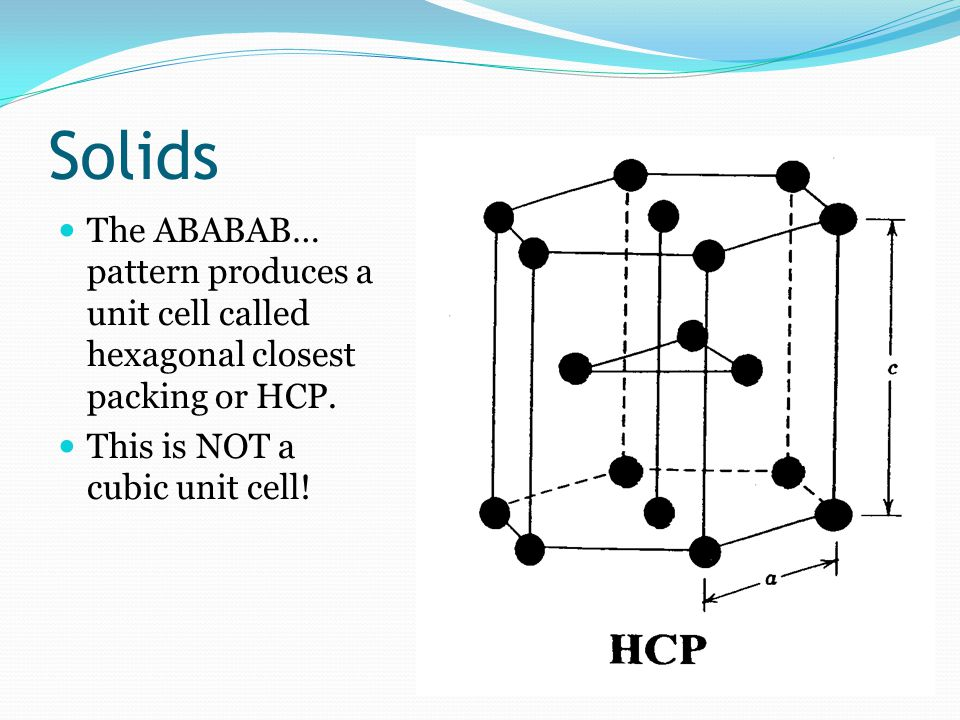 Solids The ABABAB… pattern produces a unit cell called hexagonal closest packing or HCP.
