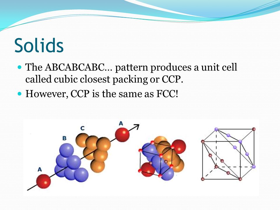 Solids The ABCABCABC… pattern produces a unit cell called cubic closest packing or CCP.