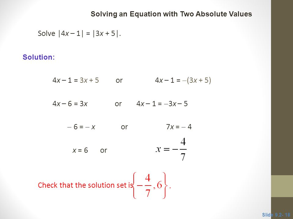 Check that the solution set is