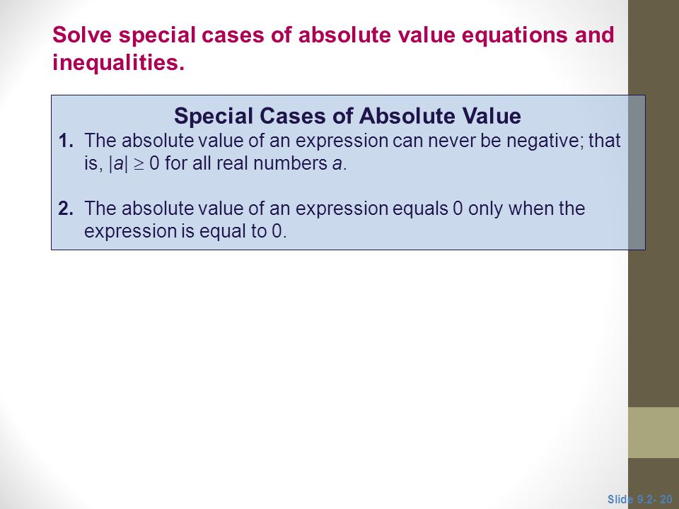 Special Cases of Absolute Value