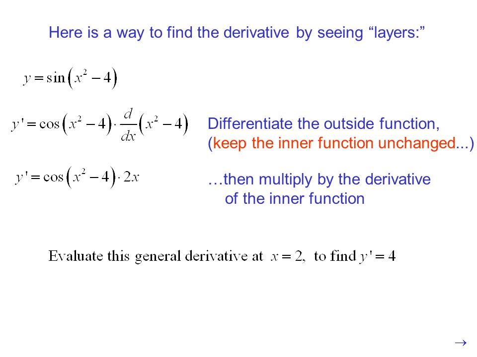 Here is a way to find the derivative by seeing layers: