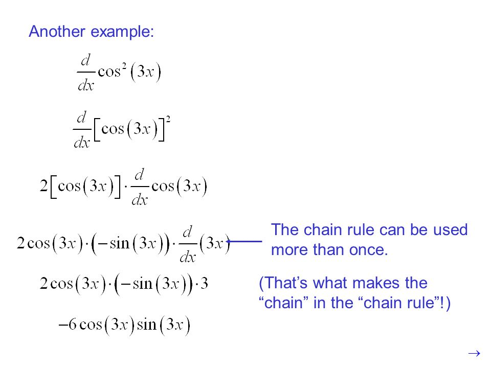 Another example: The chain rule can be used more than once.