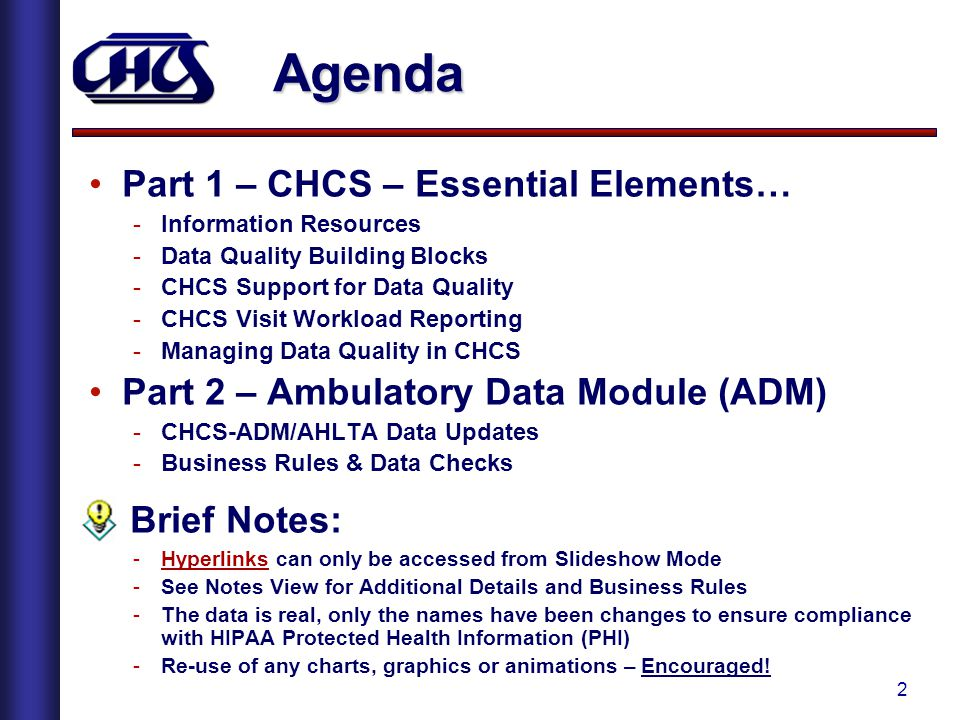 Agenda Part 1 – CHCS – Essential Elements…