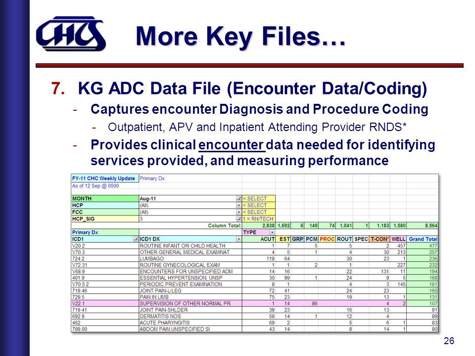 More Key Files… KG ADC Data File (Encounter Data/Coding)