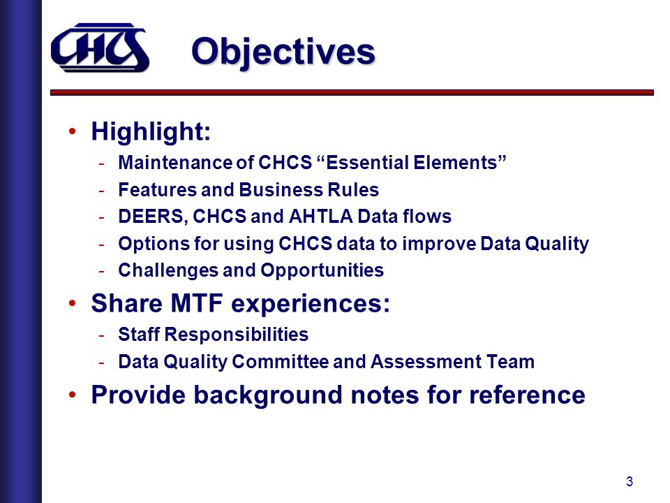 Objectives Highlight: Share MTF experiences: