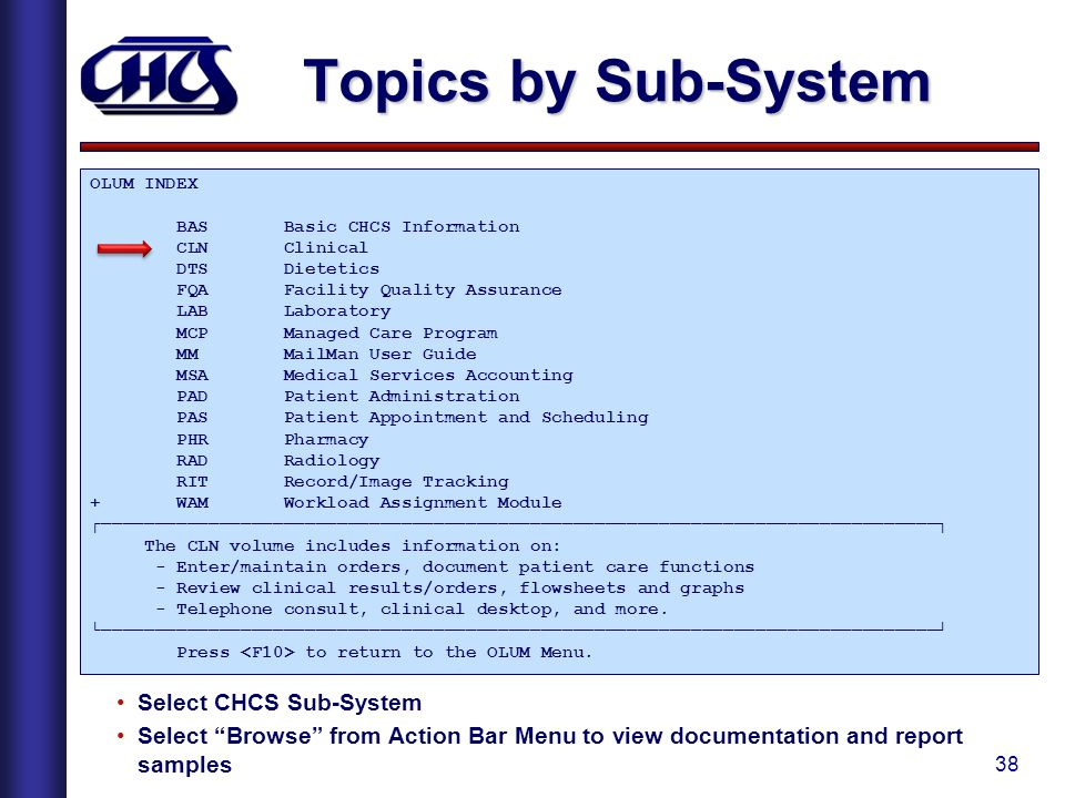 Topics by Sub-System Select CHCS Sub-System