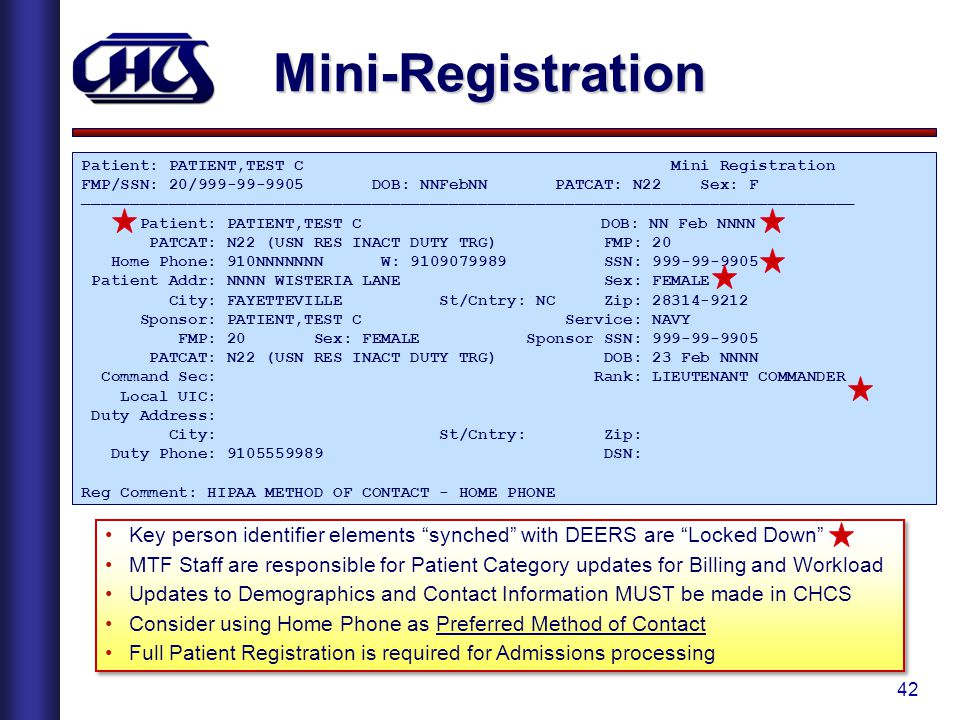 Mini-Registration Patient: PATIENT,TEST C Mini Registration.