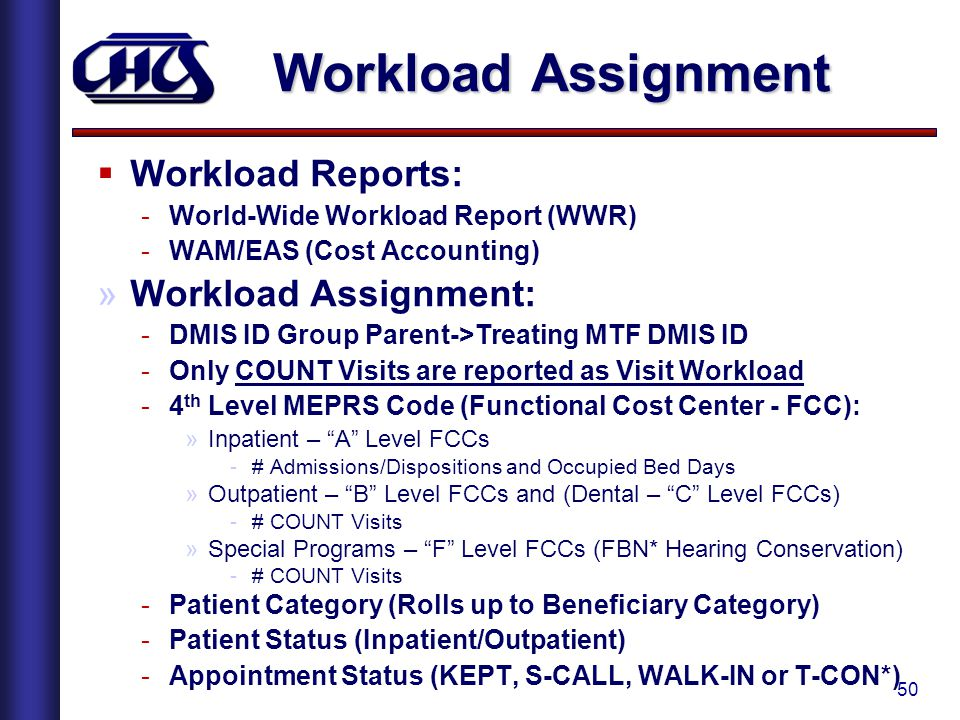 Workload Assignment Workload Reports: Workload Assignment: