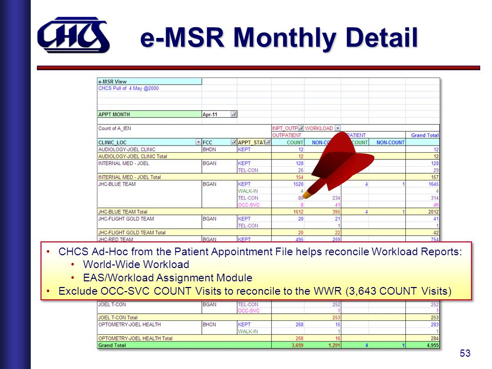 e-MSR Monthly Detail CHCS Ad-Hoc from the Patient Appointment File helps reconcile Workload Reports: