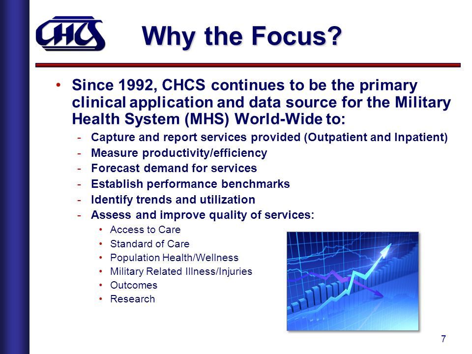 Why the Focus Since 1992, CHCS continues to be the primary clinical application and data source for the Military Health System (MHS) World-Wide to: