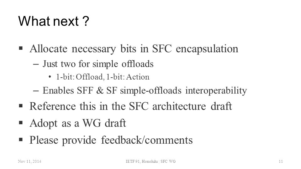 What next Allocate necessary bits in SFC encapsulation