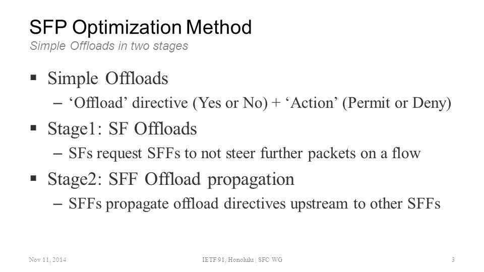 SFP Optimization Method Simple Offloads in two stages