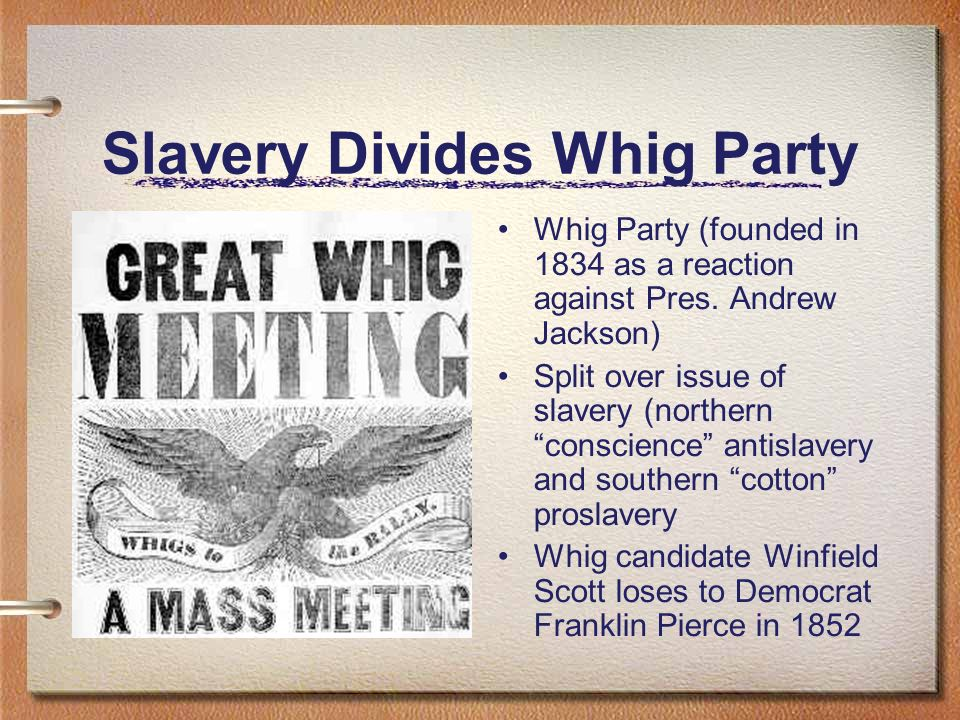 Slavery Divides Whig Party
